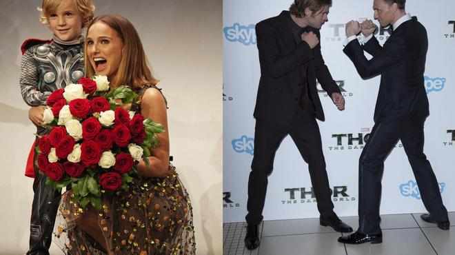 À Londres comme à Paris, Natalie Portman et l'équipe de Thor s'éclatent (photos)