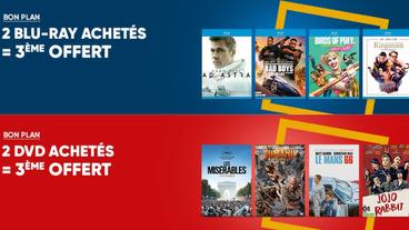 Bons plans Fnac : pour 2 Blu-ray ou DVD achetés un 3ème offert !  Premier arrivé premier servi !